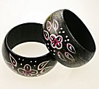 Hand-Painted Wooden Cuff Bracelets<br>6 bracelets for