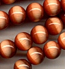 Synthetic Cats-Eye Beads<br>Burnt-Orange 8mm <br>4 strands (200 beads) for